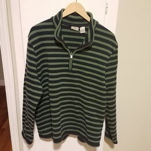 LL Bean Mens Large Striped ¼ Zip Pullover